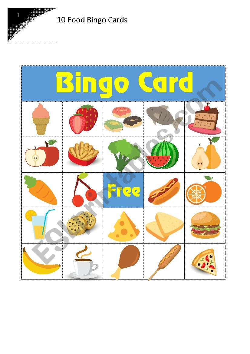 10 Food Bingo Cards - Esl Worksheetruaman