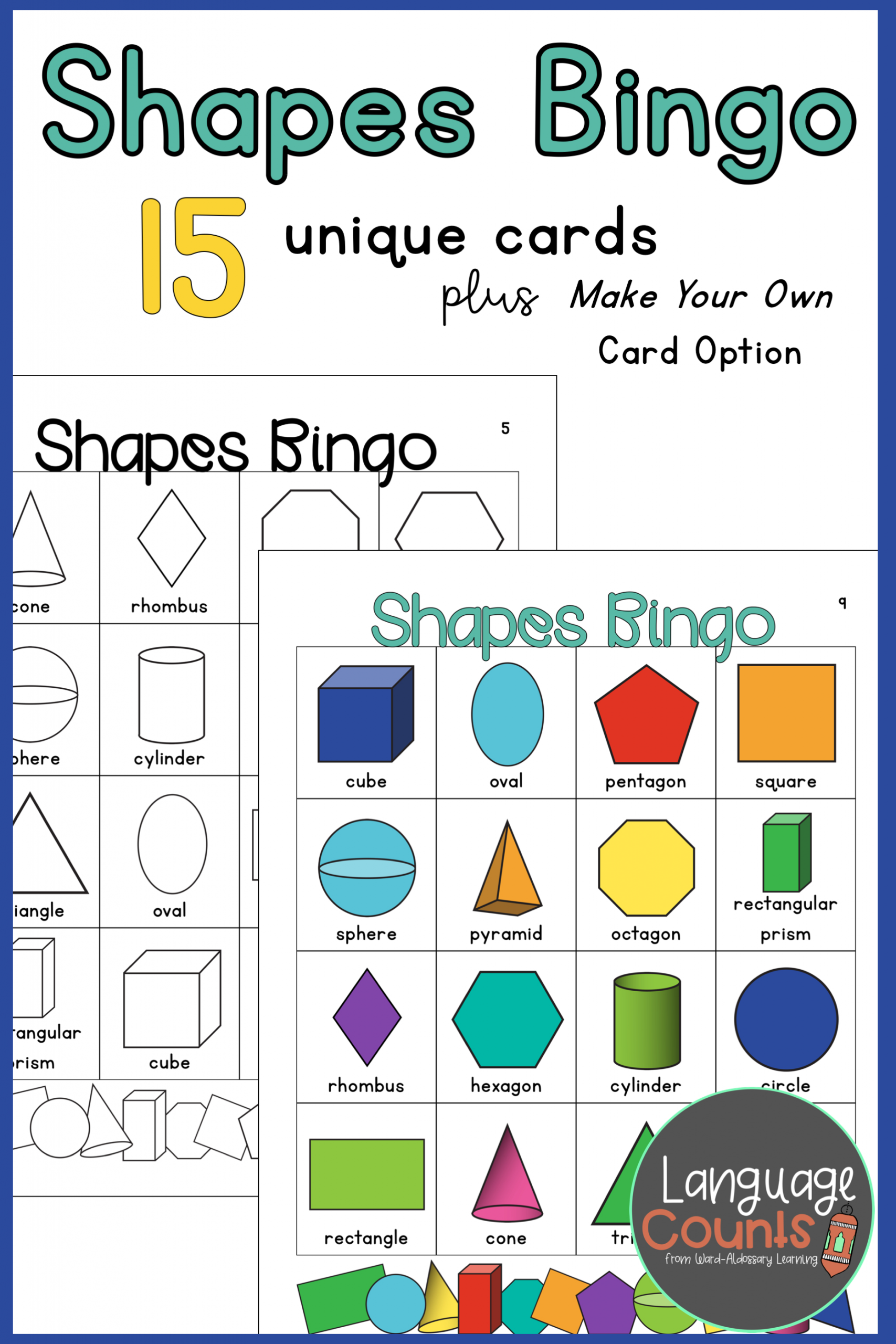 2-D And 3-D Shapes Bingo | Unique Cards, Make Your Own Card