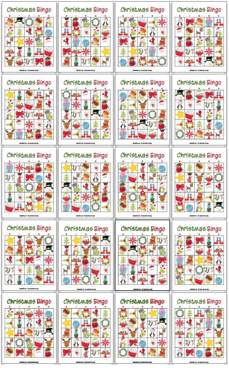 Different Printable Christmas Bingo Cards