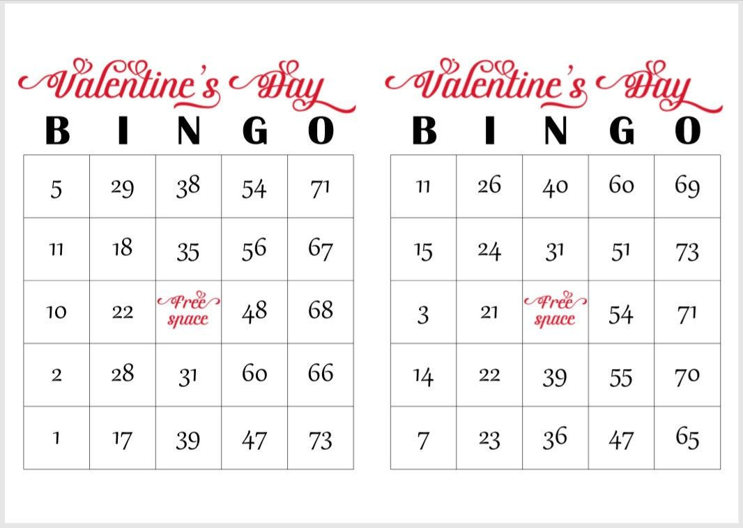 200 Valentines Day Bingo Cards, Prints 2 Per Page, Immediate