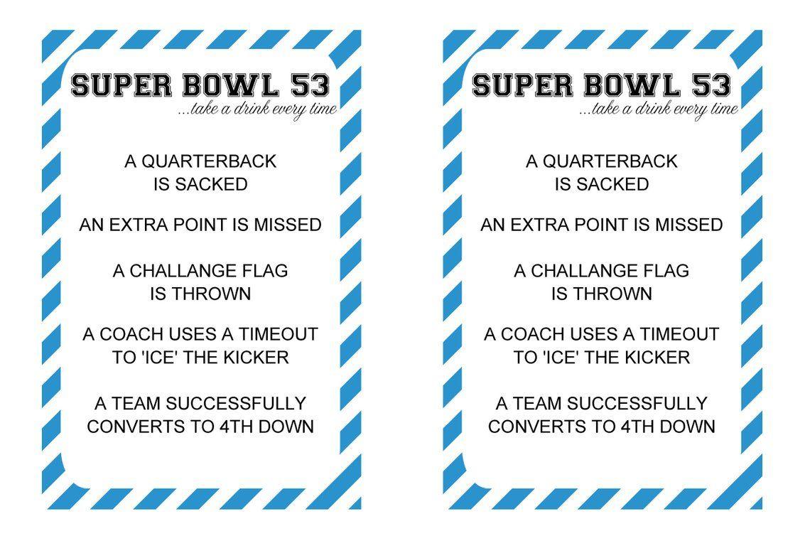 2019 Super Bowl Drinking Game Printable //. Lii Super Bowl