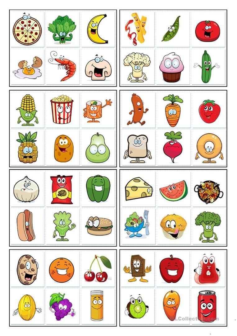 32 Bingo Cards - Food - English Esl Worksheets For Distance