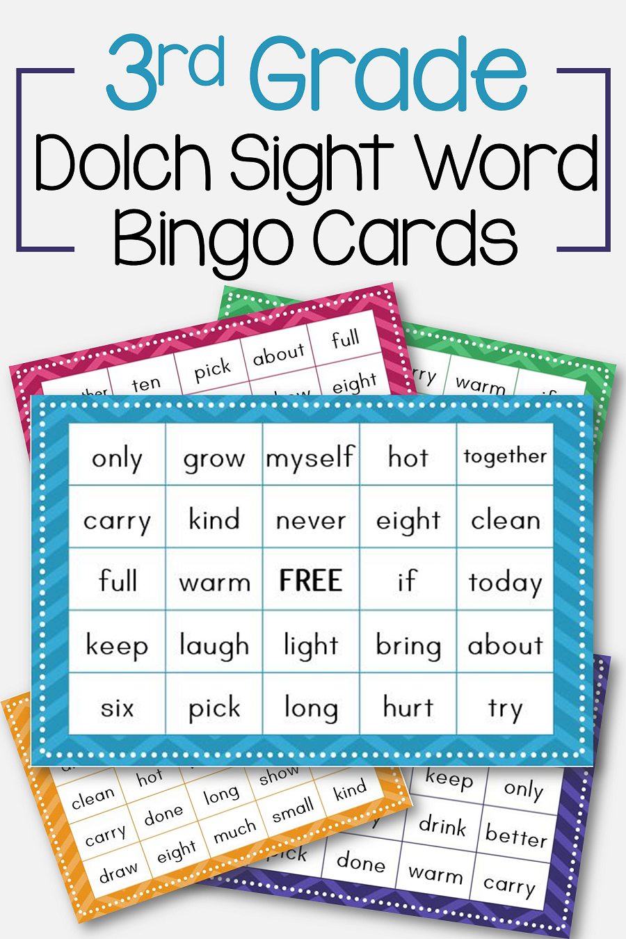 3Rd Grade Dolch Sight Word Bingo Card Printable: Includes 30