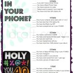 40Th Birthday Party Game Whats In Your Phone | 40Th Birthday