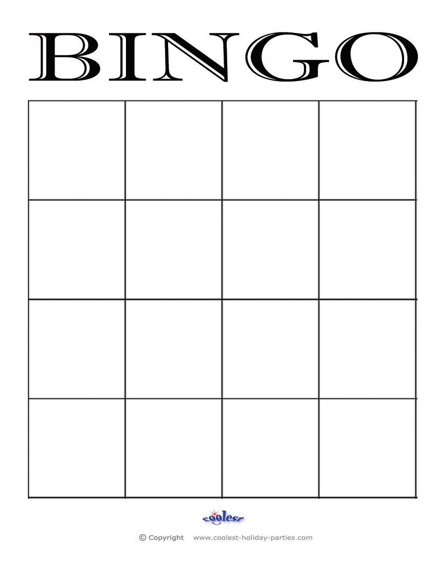 4X4 Blank Bingo Card Template   Bingo Cards Printable