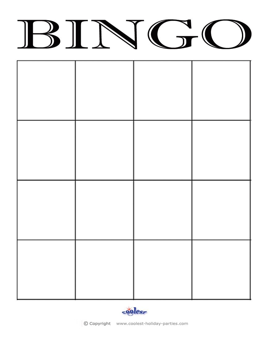 4X4 Blank Bingo Card Template | Bingo Cards Printable