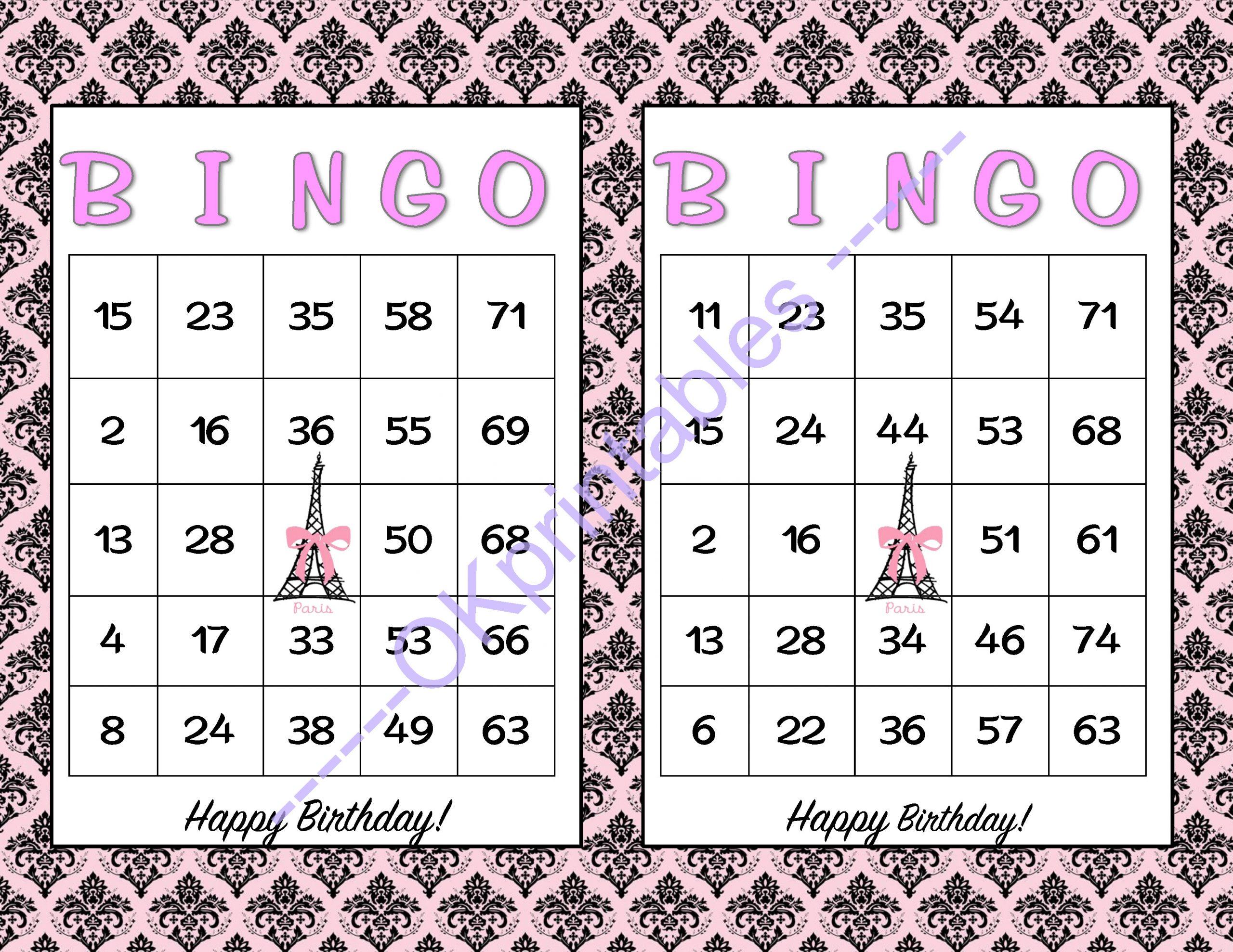 60 Happy Birthday Bingo Cards - Printable Girl Game Paris Theme Party -  Pink And Black Paris Party - Girl Party Game Soldokprintables