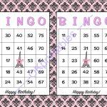60 Happy Birthday Parisian Party Bingo Cards   Printable