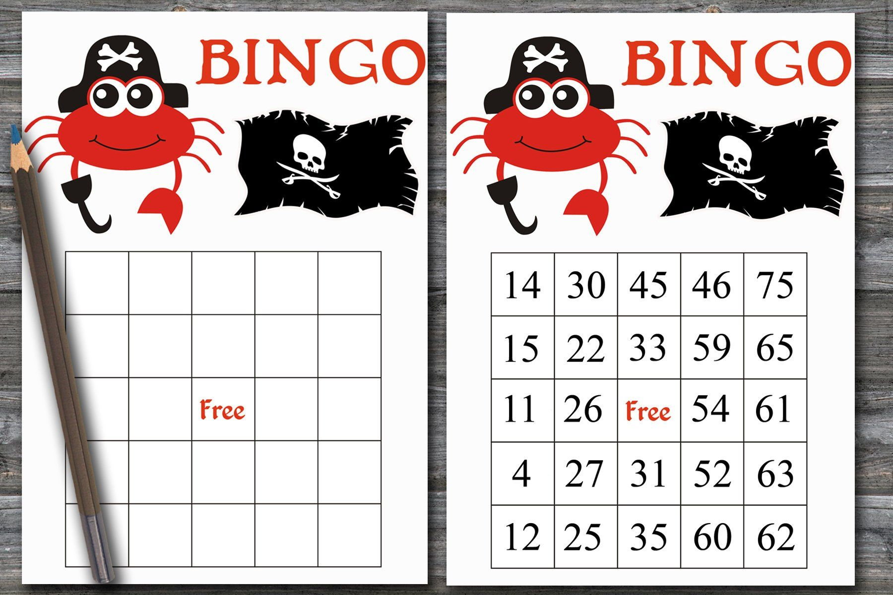 60 Pirate Bingo Cards With Numbers, Crab Bingo Game, Pirate