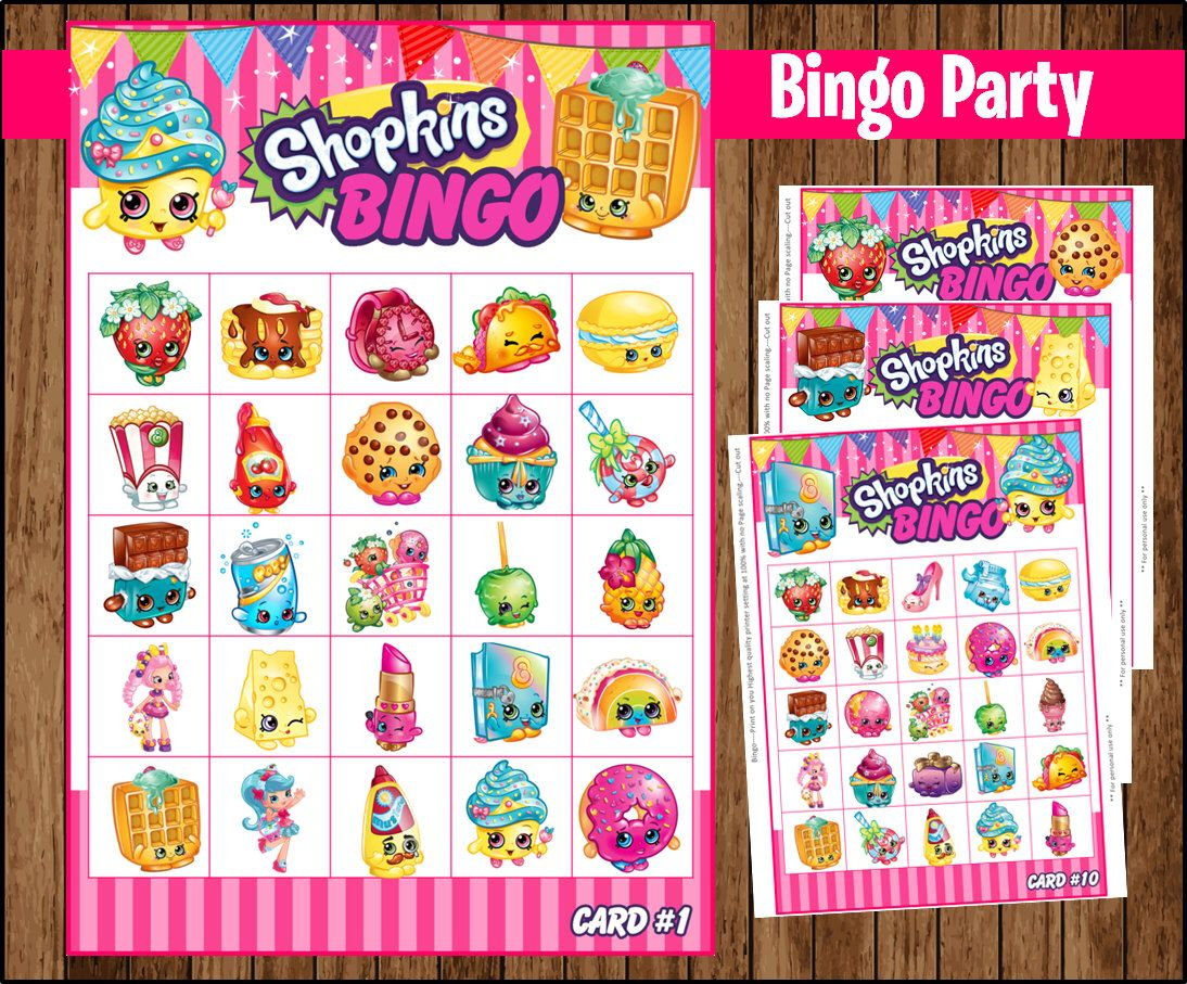 80% Off Sale Shopkins Bingo 10 Cards Game Instant Download