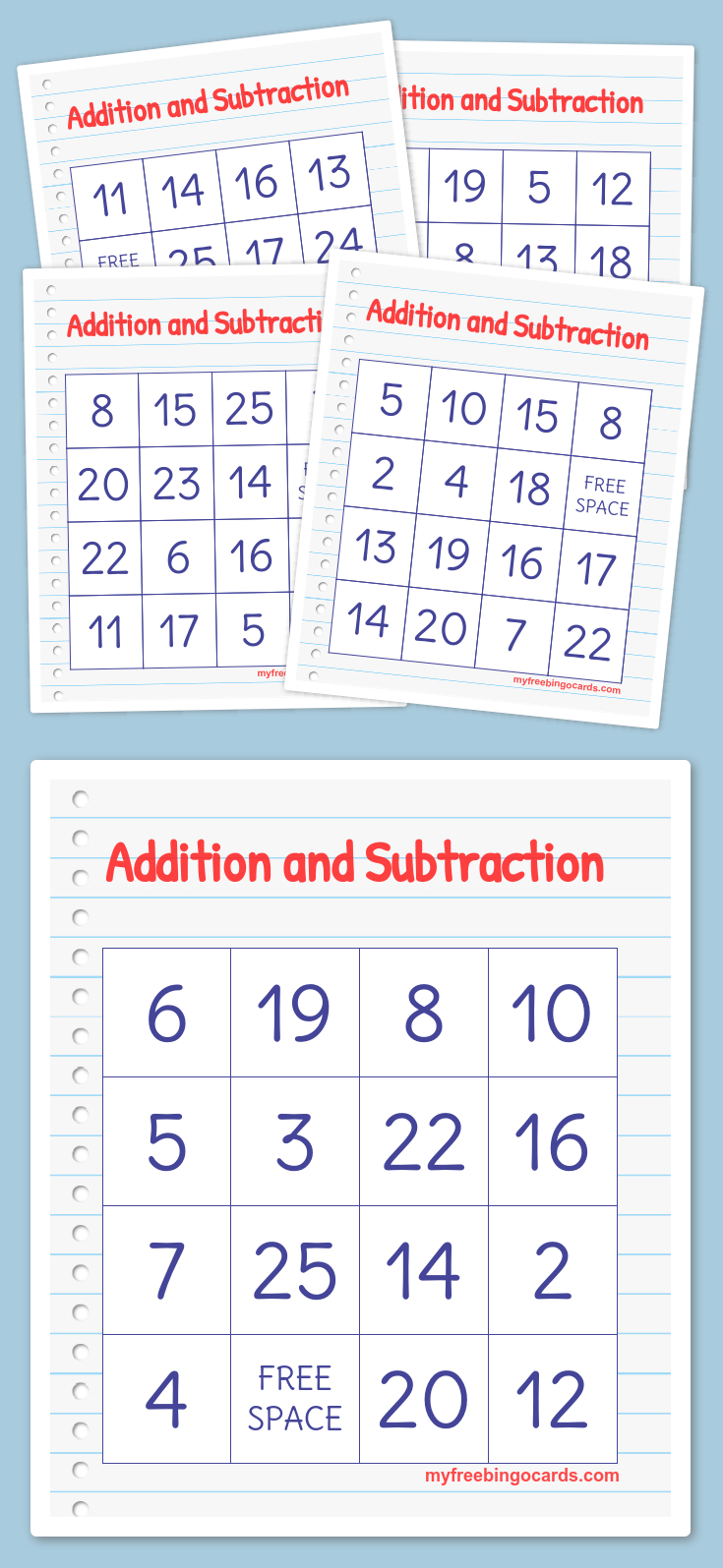 Addition And Subtraction Bingo | Free Printable Bingo Cards