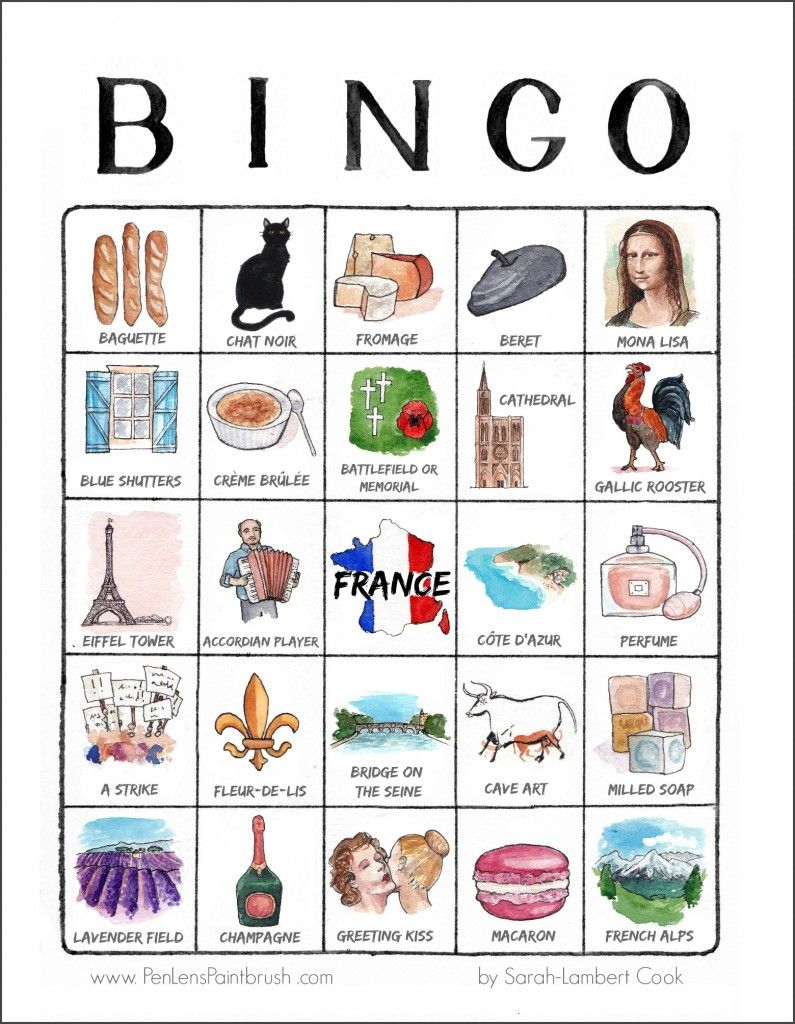 An Illustrated Trip Through France - Printable Travel Bingo