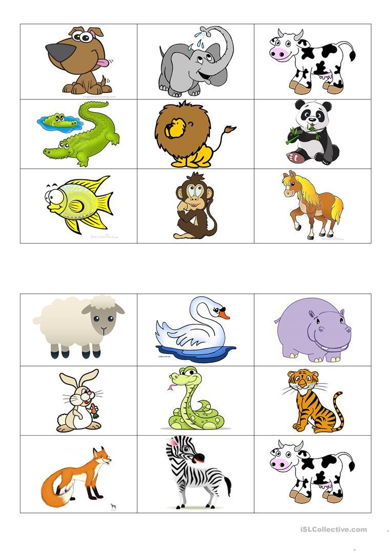 Animals Bingo Cards - English Esl Worksheets For Distance