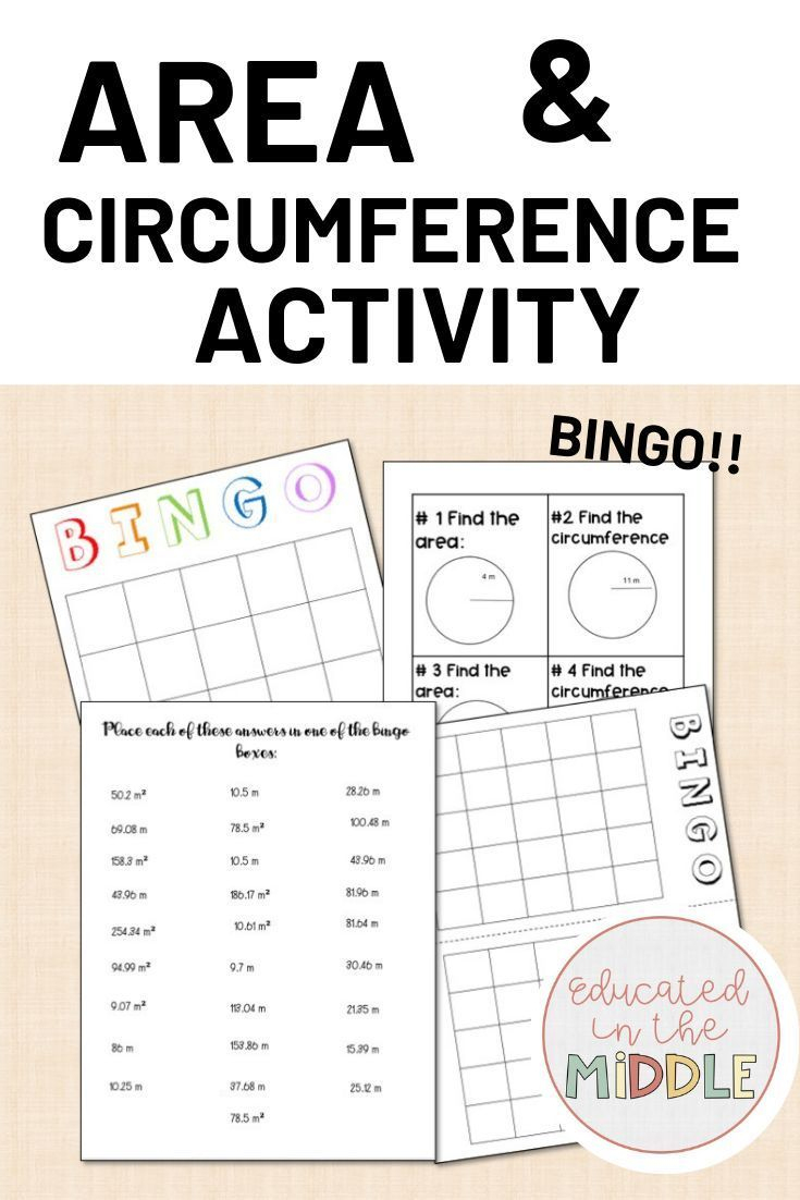 Area And Circumference Of A Circle Activity: Bingo | 7Th