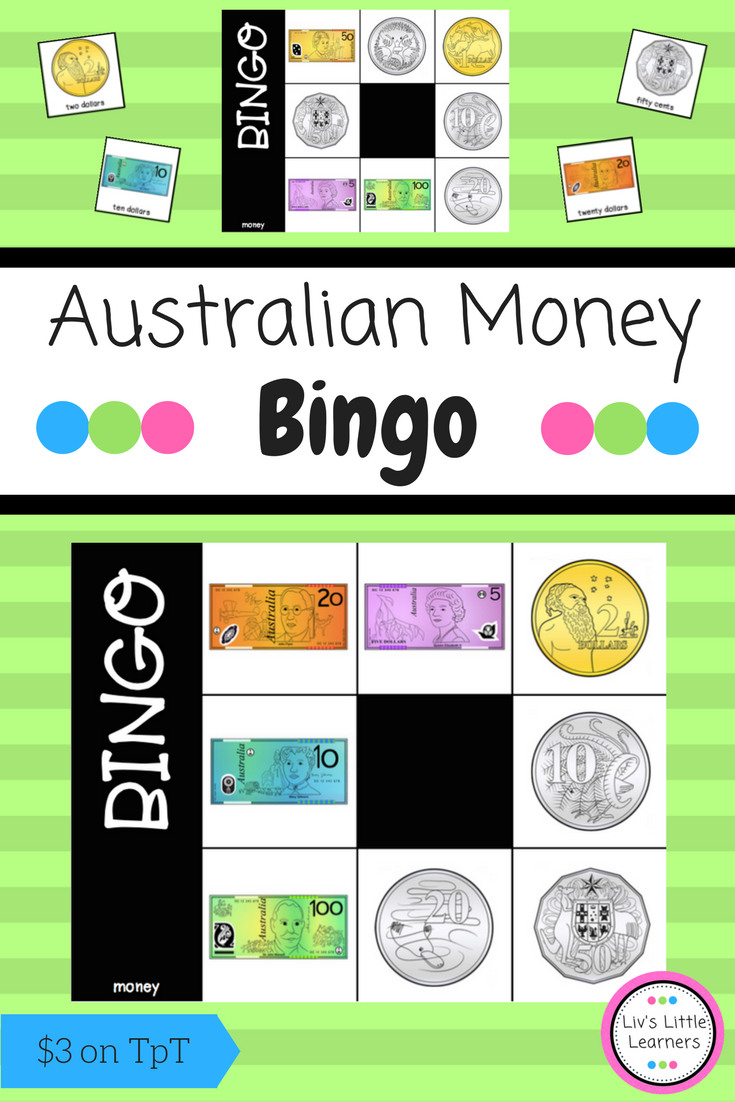 Australian Money Bingo | Money Bingo, Australian Money