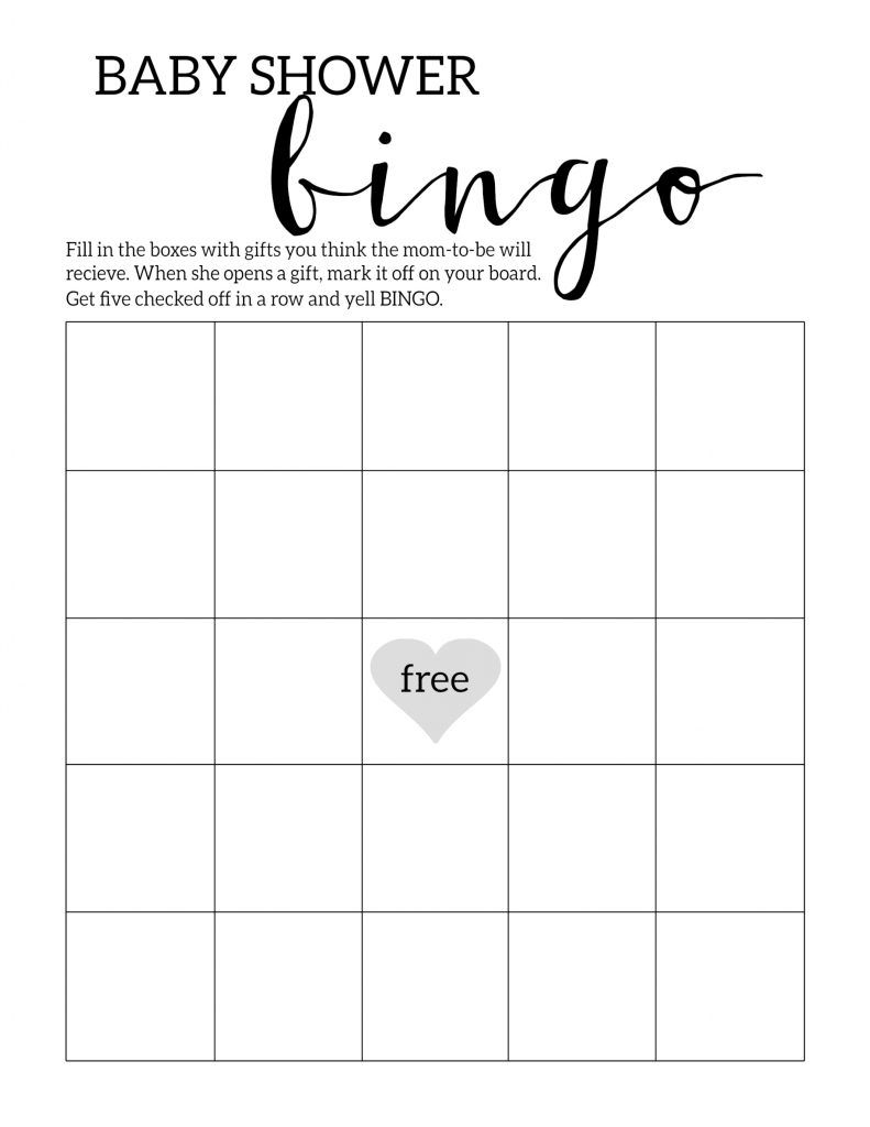 Baby Shower Bingo Printable Cards Template | Baby Shower