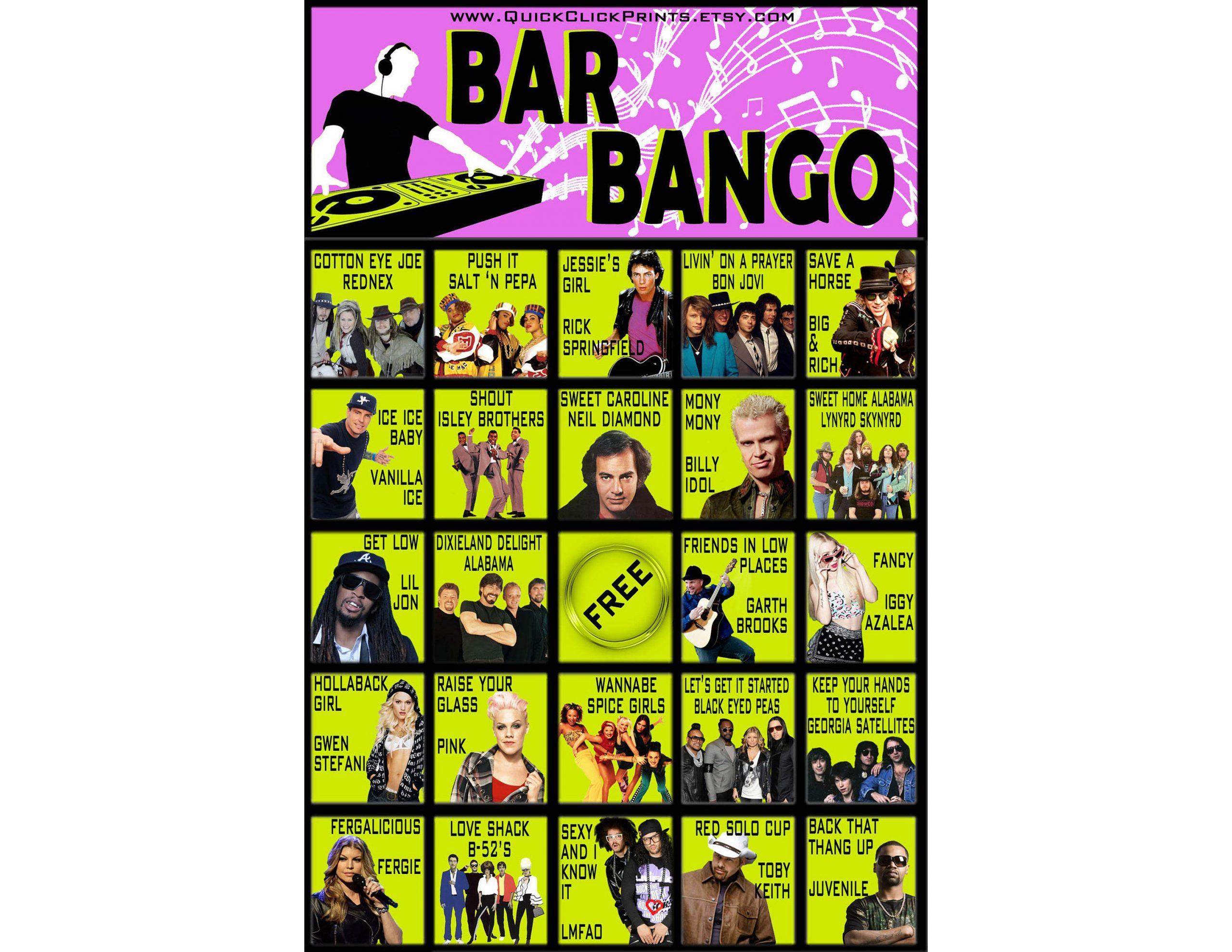 Bar Bango - 30 Cards - Playlist Bingo- Music Bingo