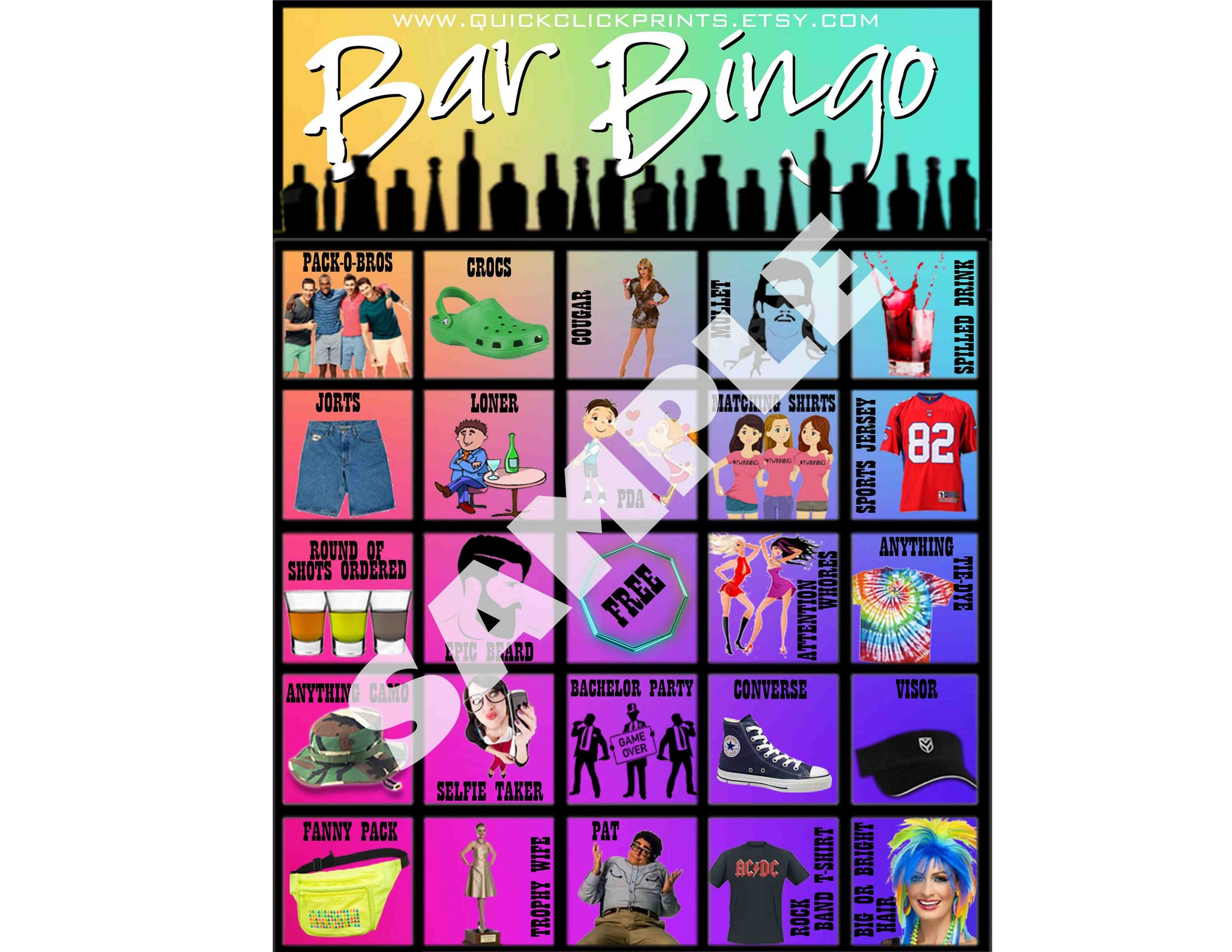 Bar Bingo -28 Cards -Pub Crawl Bingo -People Watching