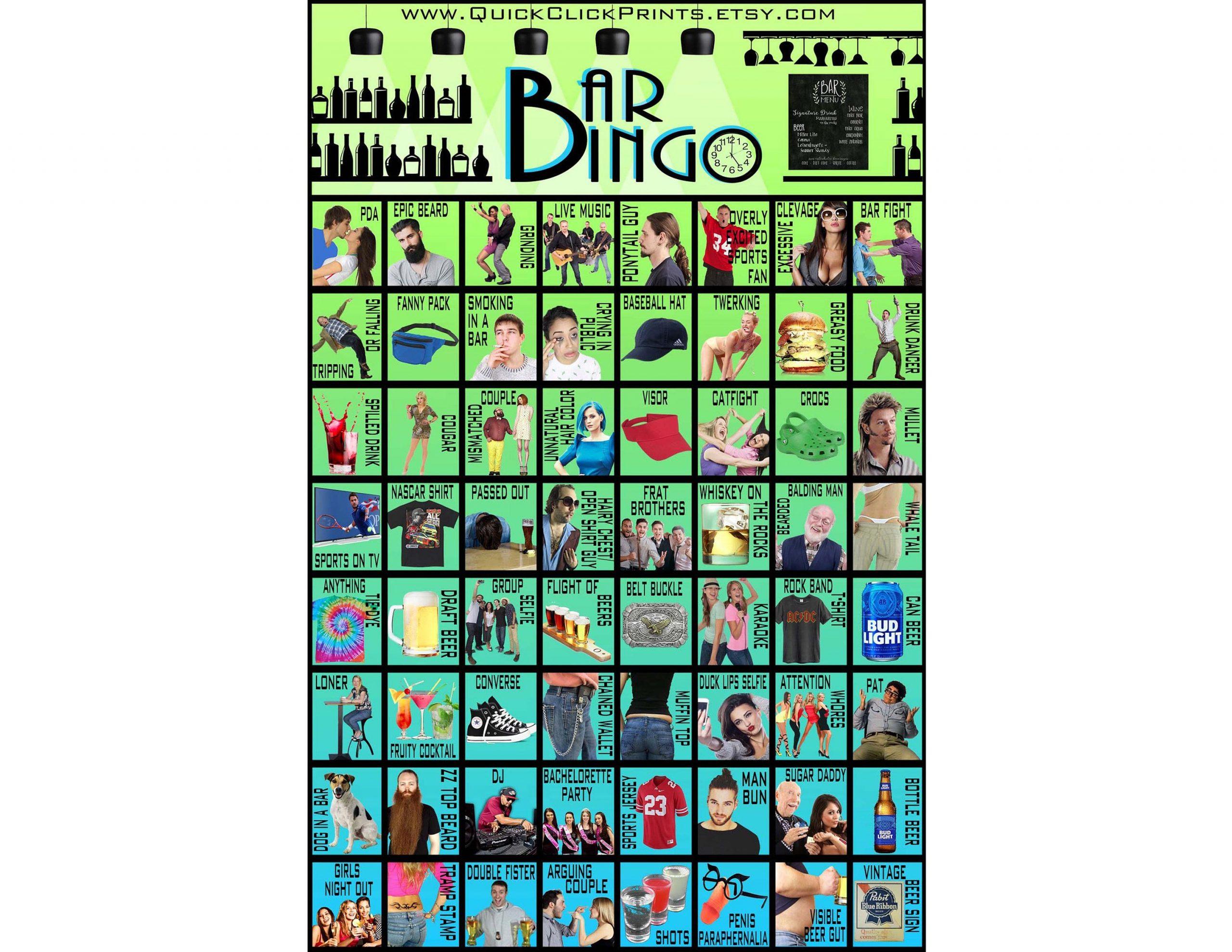 Big Bar Bingo -30 Cards -Pub Crawl Bingo -People Watching