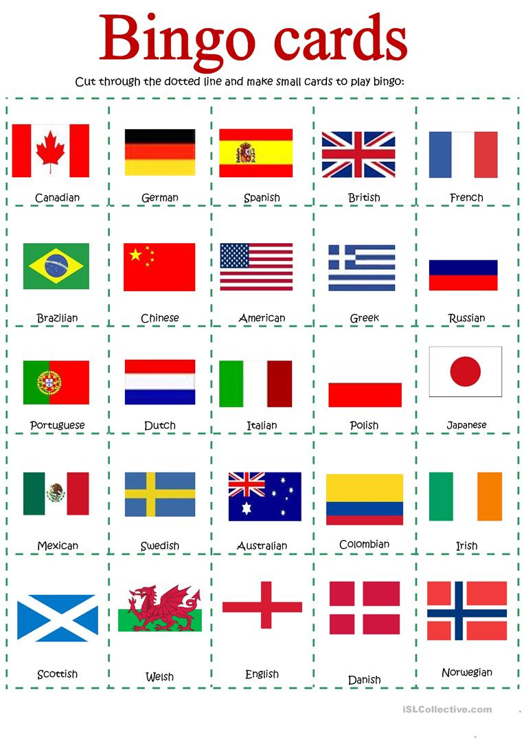Bingo About Nationalities - English Esl Worksheets For