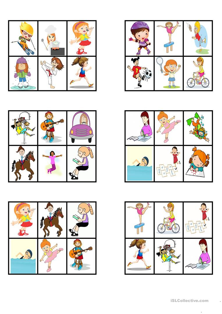 "Bingo - ""action Verbs"" - English Esl Worksheets For Distance"