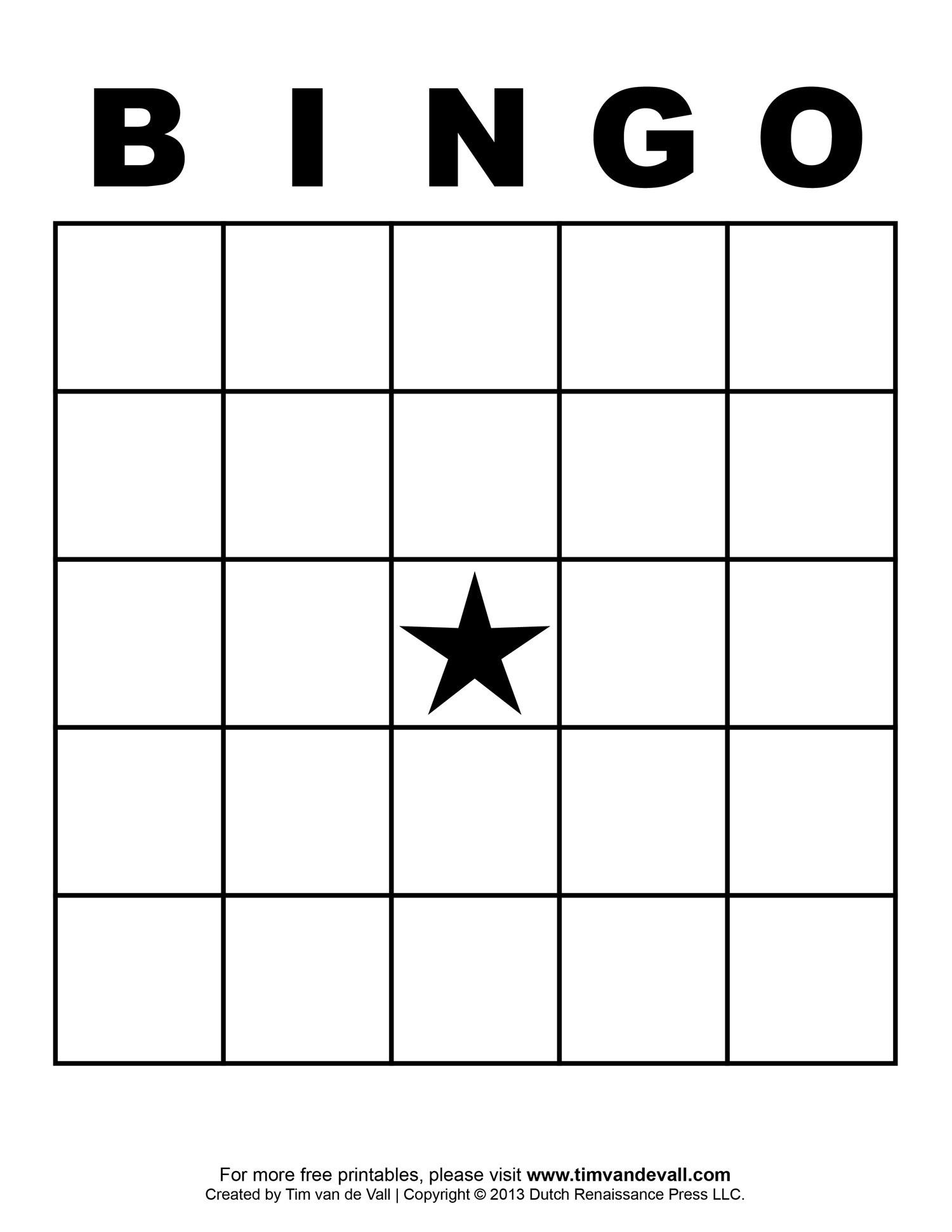 Bingo Blank Sheet (6) | Based Resume