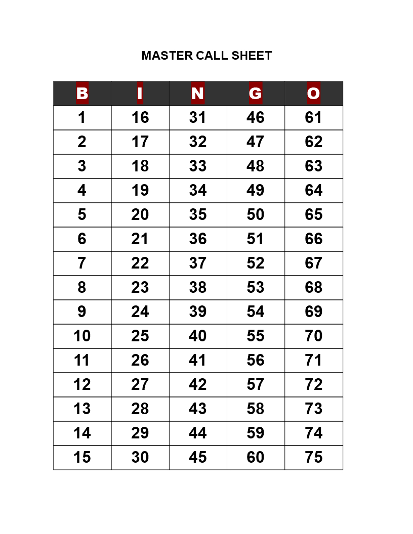 Bingo Call Sheet - How To Create A Bingo Call Sheet