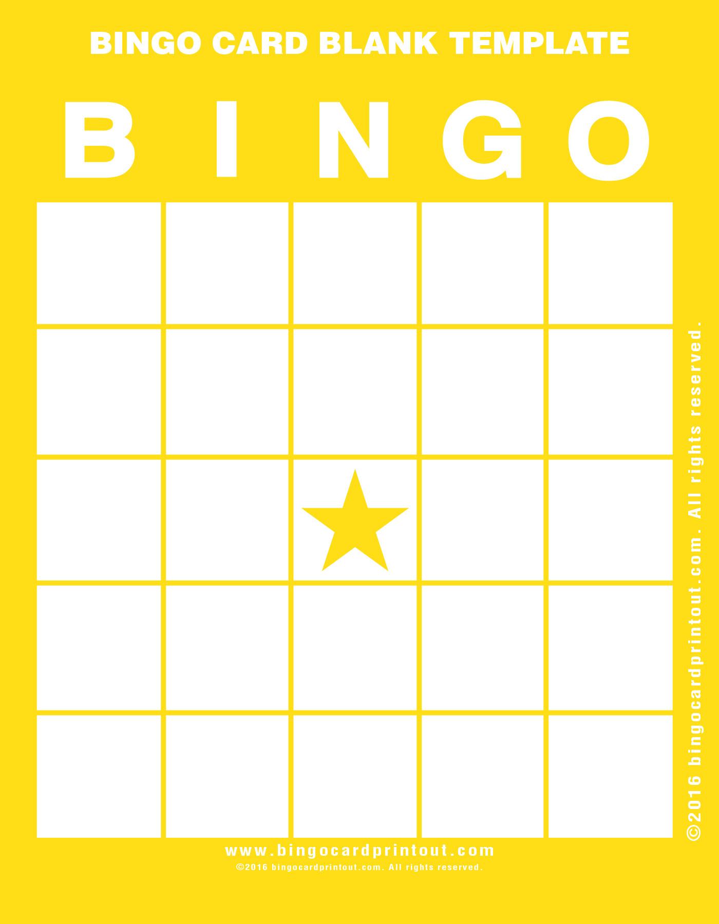 Bingo Card Blank Template - Bingocardprintout