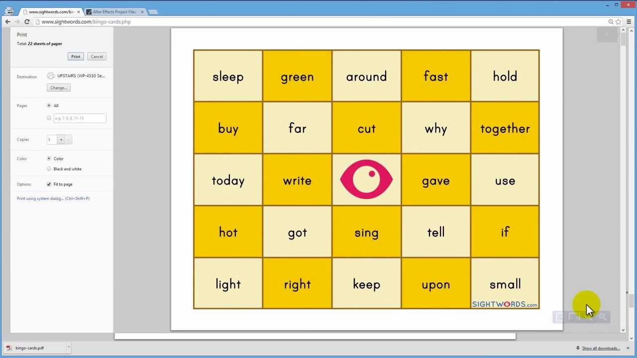 Bingo Card Creator | Sight Words: Teach Your Child To Read