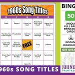 Bingo Card Game: 1960S Song Titles! Sixties Retro, Senior