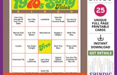 Bingo Card Game: 1970S Song Titles! Seventies Retro, Senior