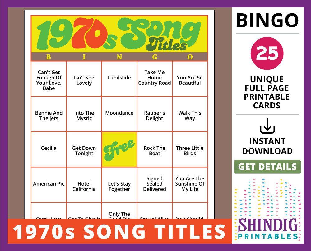 Bingo Card Game: 1970S Song Titles! Seventies Retro, Senior