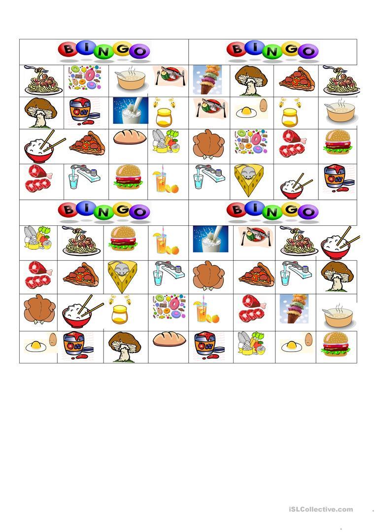 Bingo: Food And Drinks - English Esl Worksheets For Distance