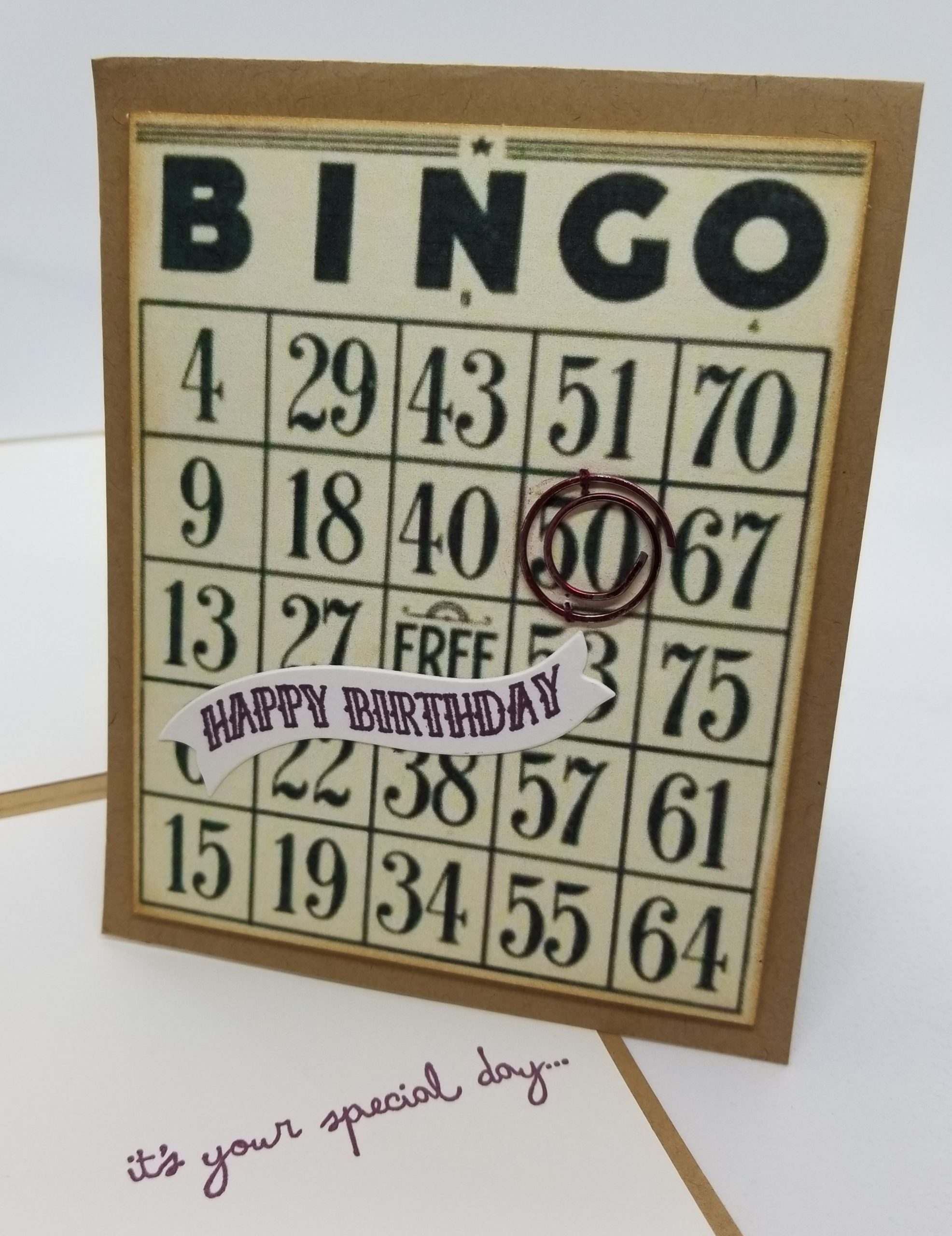 Bingo Happy Birthday Card Using Vintage Bingo Card Off