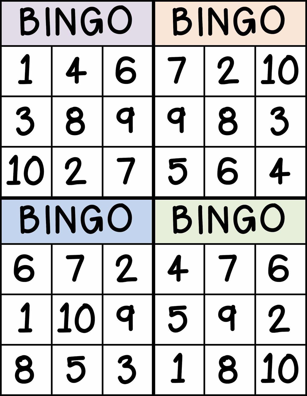 Bingo Nummers 1 Tem 10 | Cartelas De Bingo, Ensino Dos Números