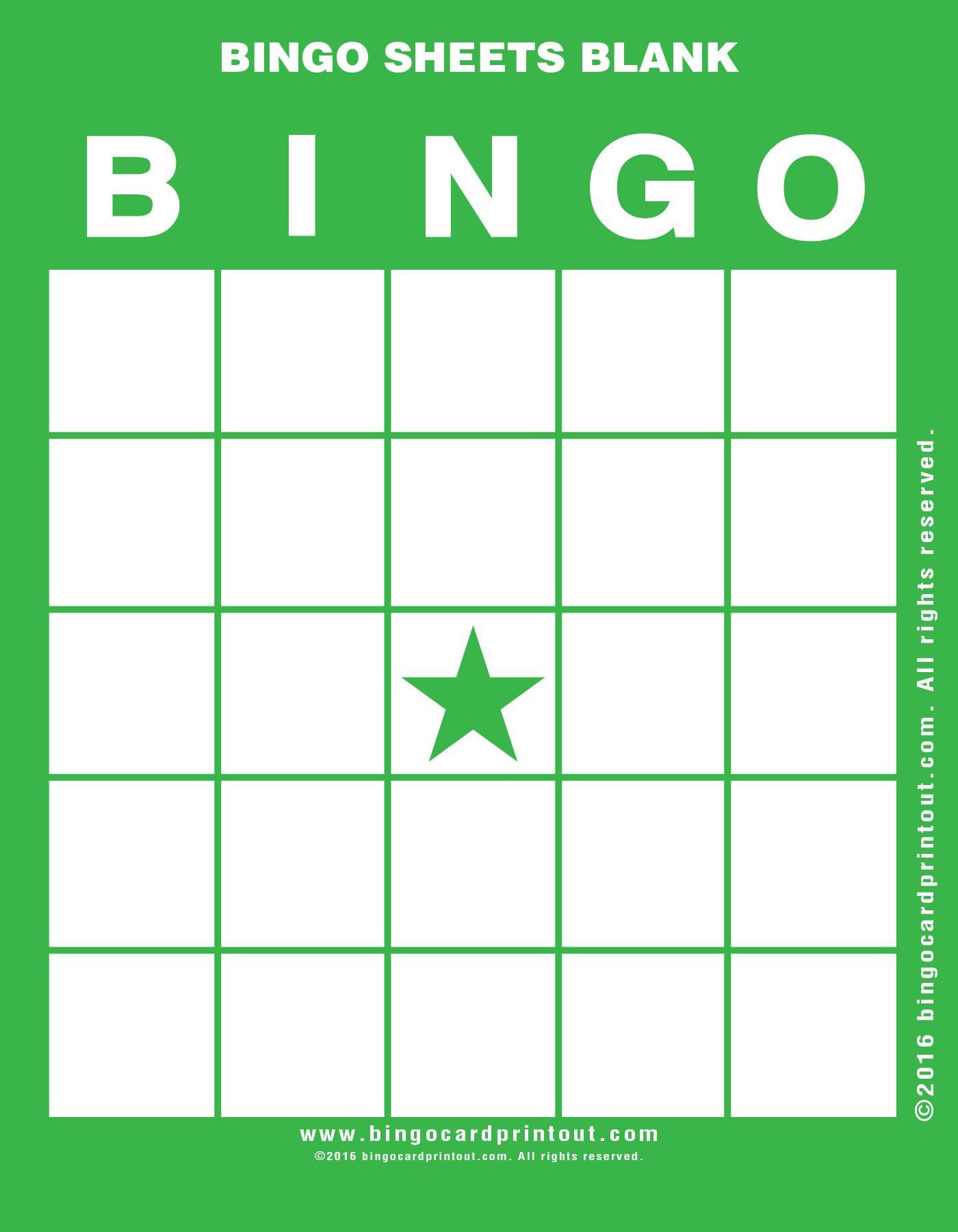 Bingo Sheets Blank 4 | Bingo Cards Printable, Bingo Card