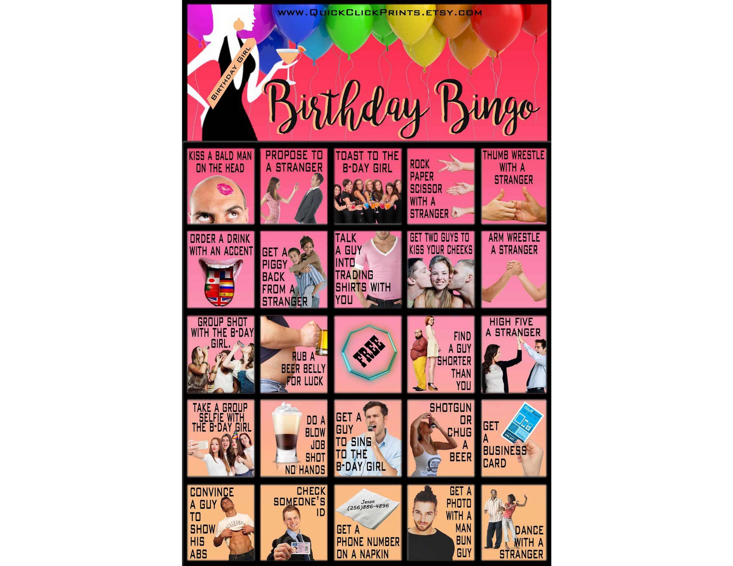 Birthday Bingo -30 Cards -Birthday Dares - Birthday Party