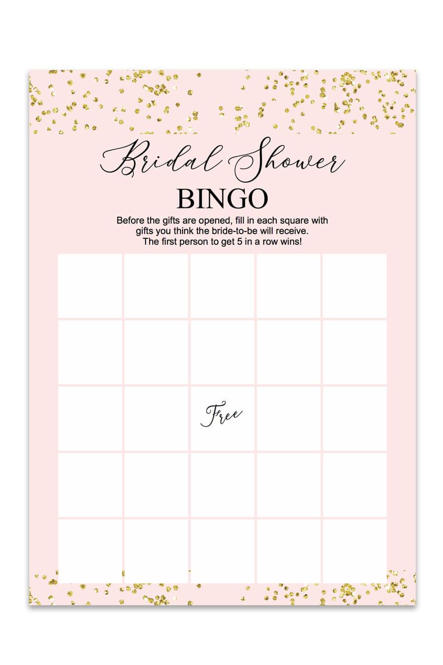 Blush And Confetti Bridal Shower Bingo - Chicfetti