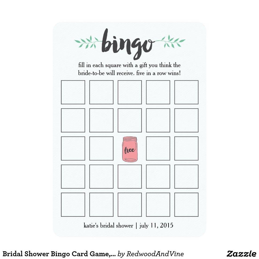 Bridal Shower Bingo Card Game, Botanical Mason Jar   Zazzle