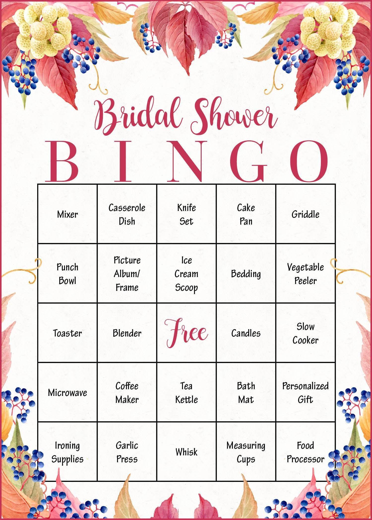 Bridal Shower Gift Bingo Cards - Printable Download - Bridal
