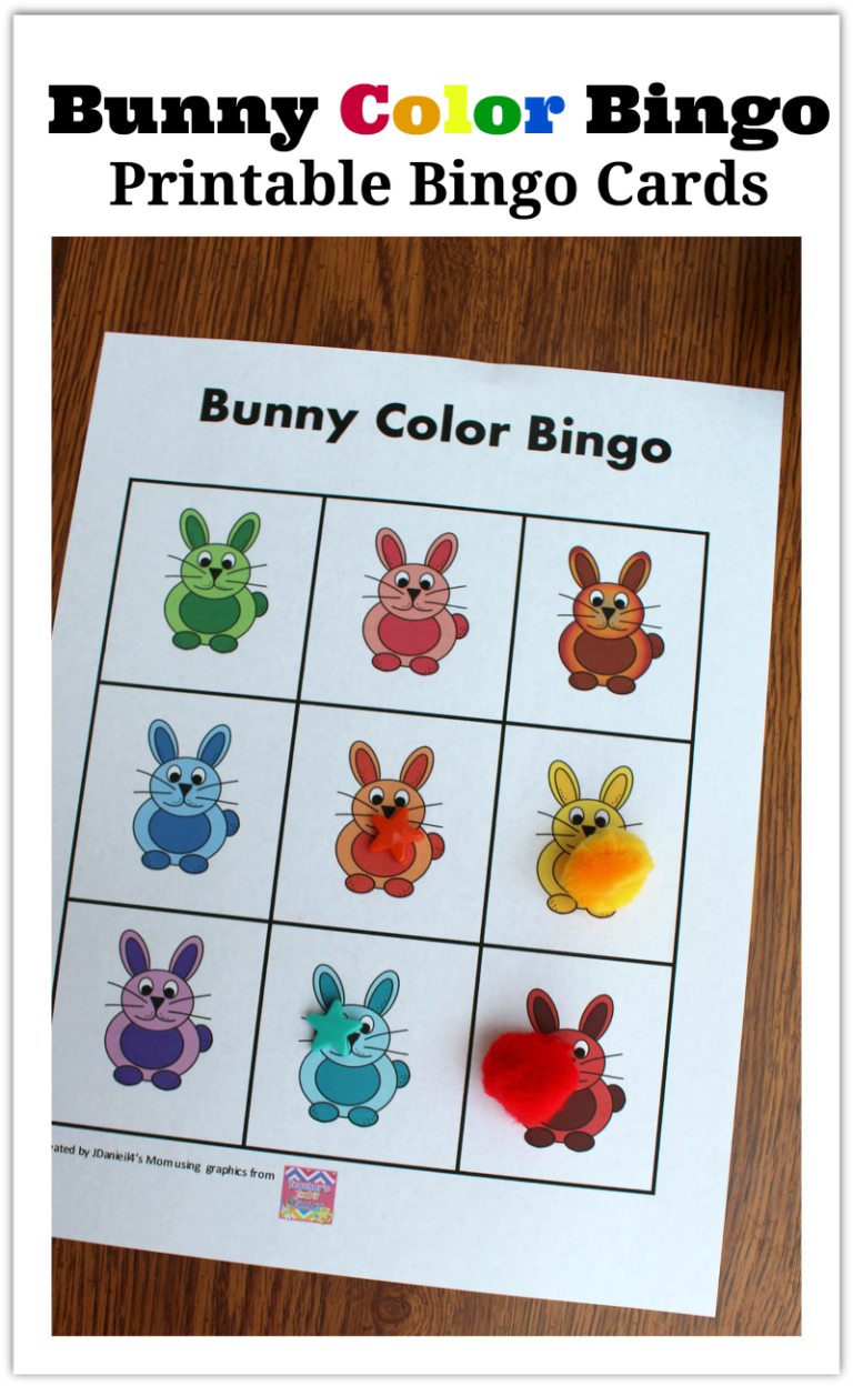 Bunny Color Bingo Printable Bingo Cards - I Have Come Up