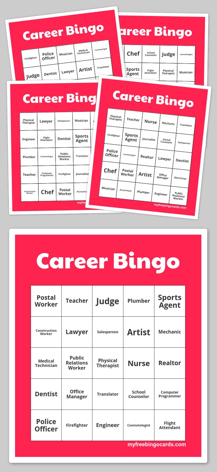Career Bingo | Free Printable Bingo Cards, Bingo Cards, Free