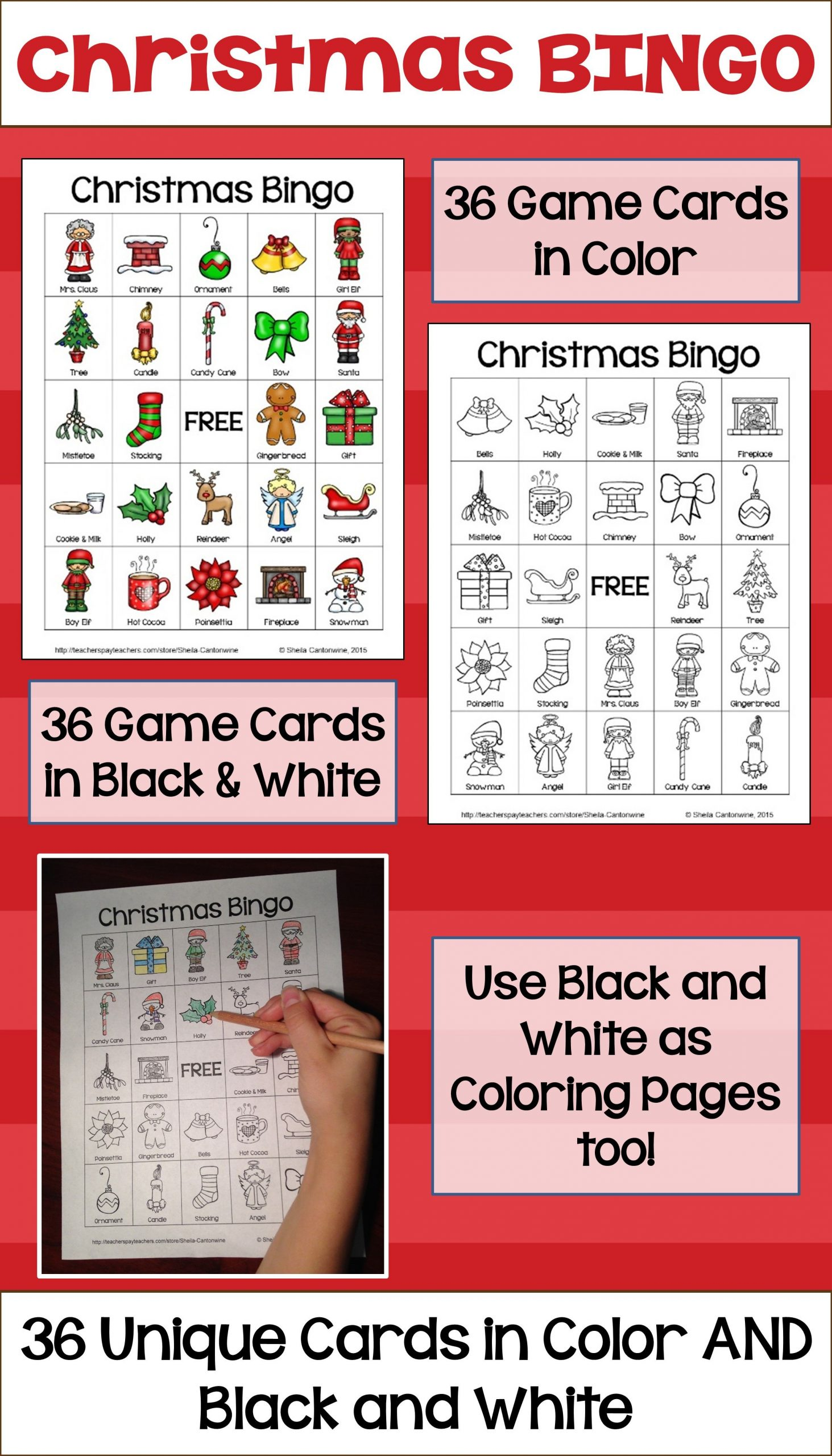 Christmas Bingo With 36 Unique Cards In Color And Black And