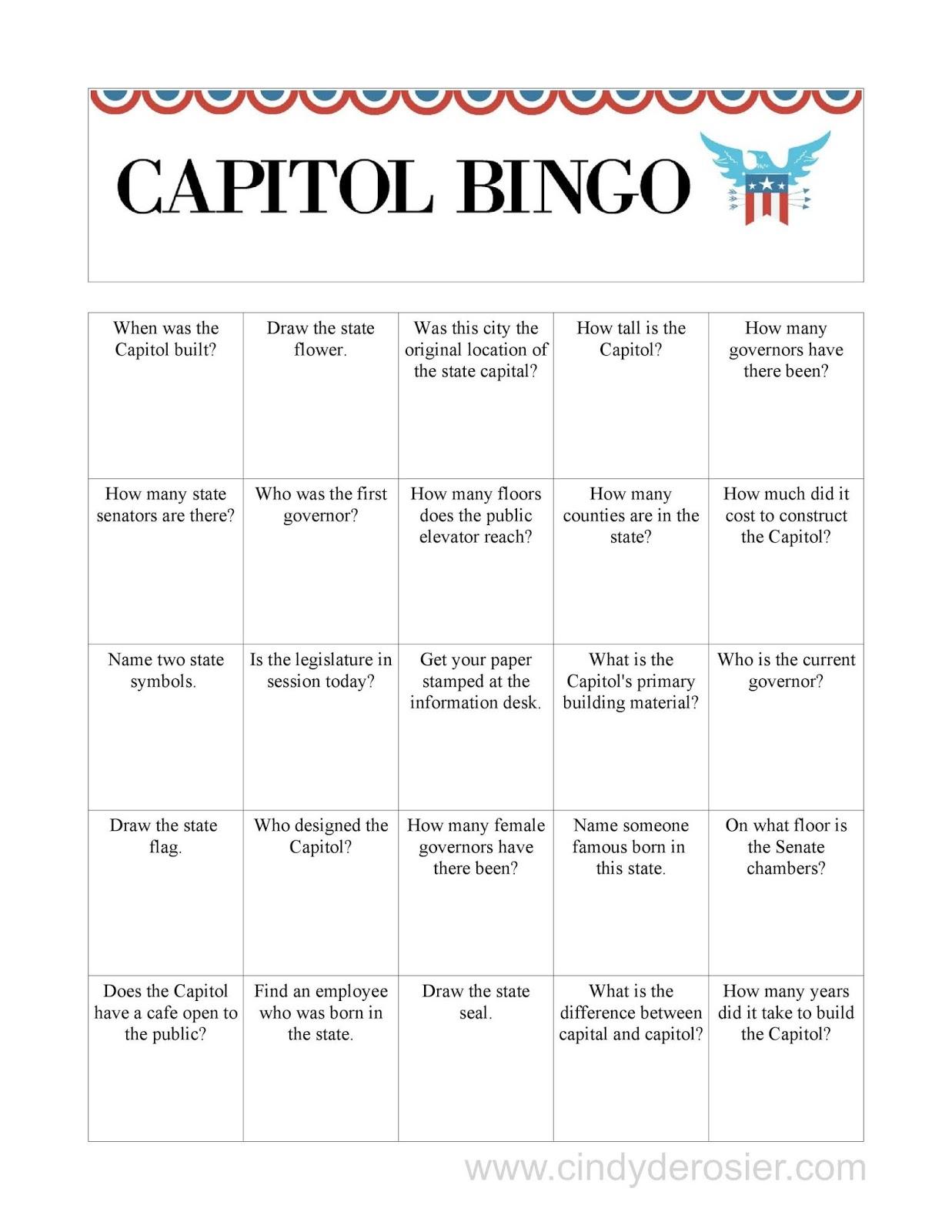 Cindy Derosier: My Creative Life: Capitol Bingo