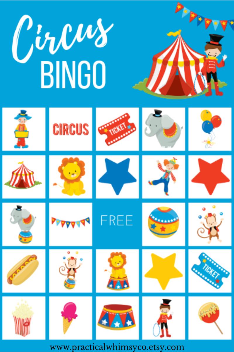 Circus Theme Bingo Cards, Birthday Party Game | Children