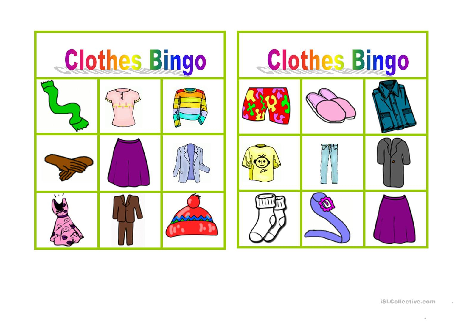 Clothes Bingo - English Esl Worksheets For Distance Learning