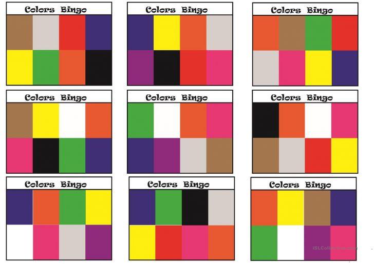 Printable Colour Bingo Cards