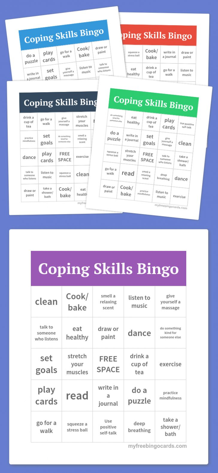 Printable Coping Skills Bingo Cards