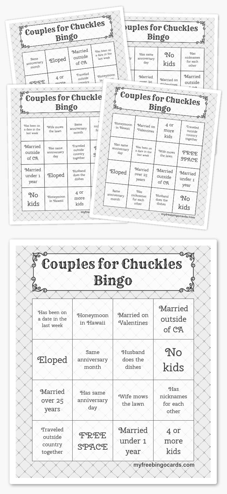 Couples For Chuckles Bingo | Free Printable Bingo Cards