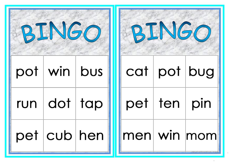 Cvc Words Bingo - English Esl Worksheets For Distance